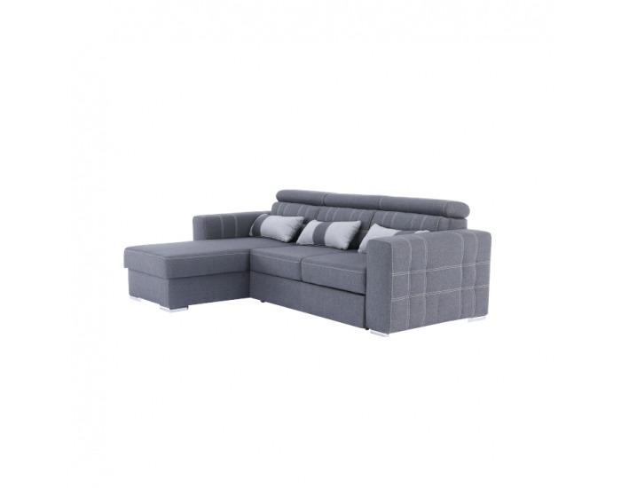 Rohová sedačka s rozkladom a úložným priestorom Chris L/P - tmavosivá / svetlosivá