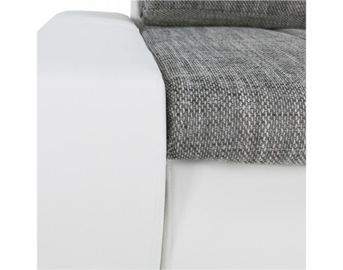 Rohová sedačka s rozkladom a úložným priestorom Toniks L/P - biela ekokoža / berlin 1