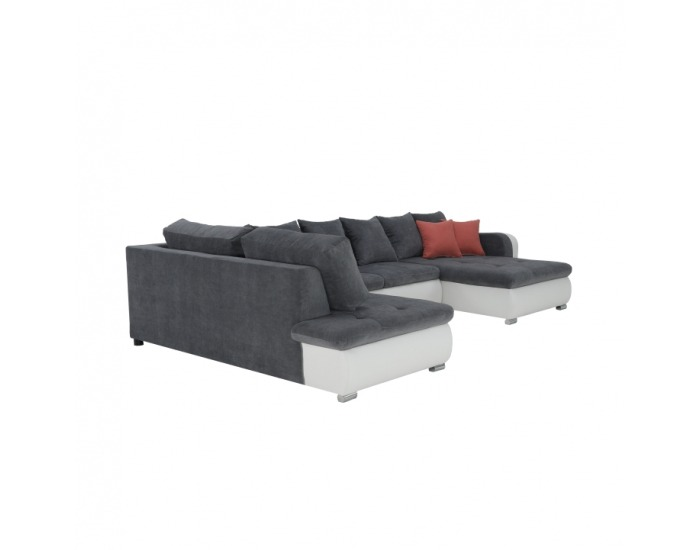 Rohová sedačka s rozkladom Kastor L - biela / sivá
