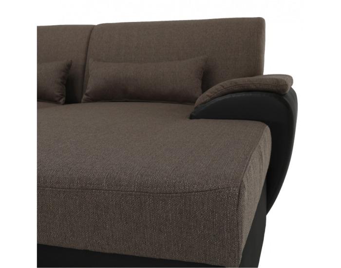 Rohová sedačka U s rozkladom a úložným priestorom Emily L - hnedá