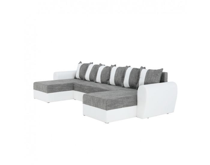 Rohová sedačka U s rozkladom a úložným priestorom Tiger L/P - biela / sivočierna