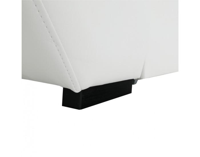 Rohová sedačka s rozkladom a úložným priestorom Akron L - biela ekokoža / tmavosivý šenil