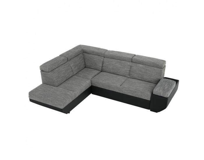 Rohová sedačka s rozkladom a úložným priestorom Akron L - čierna ekokoža / melírovaný šenil