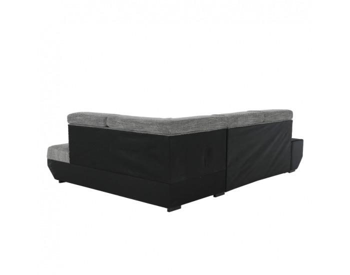 Rohová sedačka s rozkladom a úložným priestorom Akron P - čierna ekokoža / melírovaný šenil