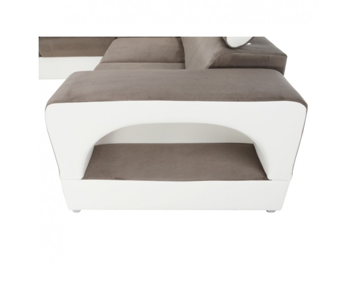 Rohová sedačka U s rozkladom a úložným priestorom Kamelia L - biela / hnedá