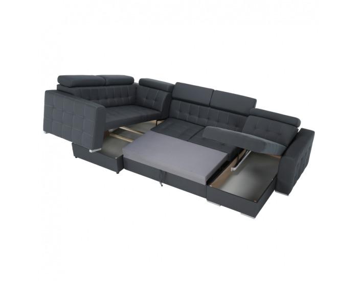 Rohová sedačka U s rozkladom a úložným priestorom Kazara P - sivá / svetlé šitie