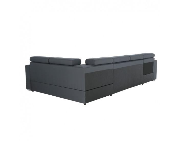 Rohová sedačka U s rozkladom a úložným priestorom Kazara L - sivá / svetlé šitie