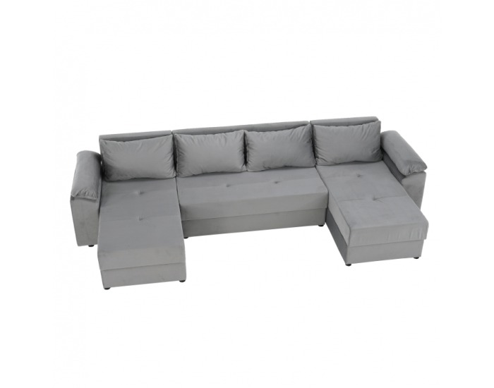 Rohová sedačka U s rozkladom a úložným priestorom Dalas L/P - sivá