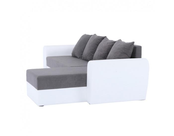 Rohová sedačka s rozkladom a úložným priestorom Oxford L/P - biela / sivá