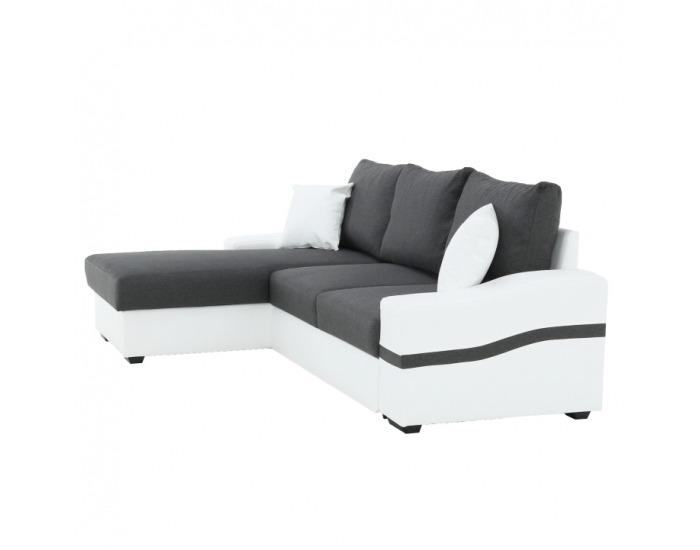 Rohová sedačka s rozkladom Oregon L - biela / sivá
