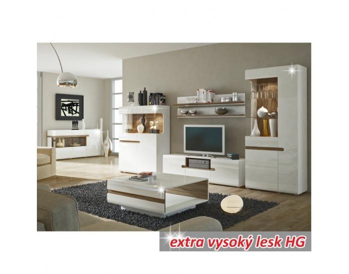 Skrinka na stenu Lynatet 66 - biela / biely vysoký lesk / dub sonoma truflový