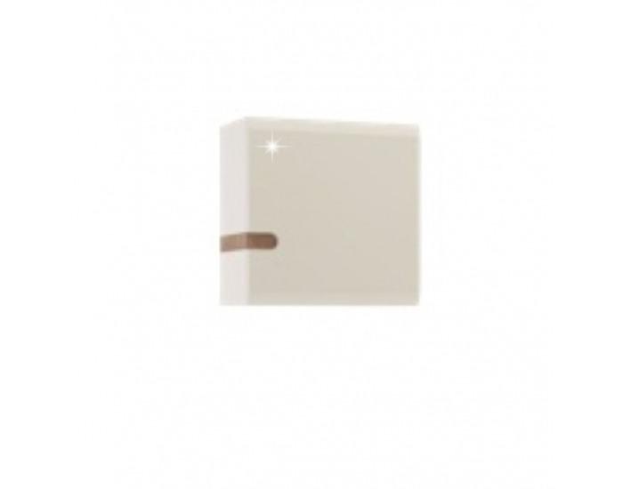 Skrinka na stenu Lynatet 65 - biela / biely vysoký lesk / dub sonoma truflový