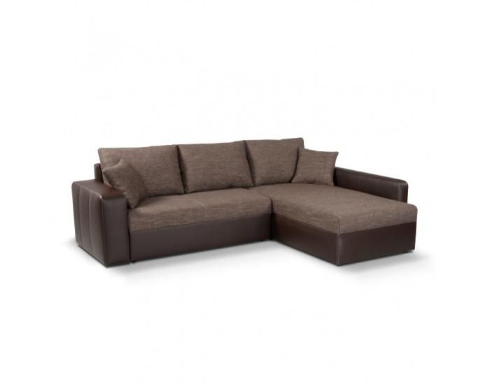 Rohová sedačka s rozkladom a úložným priestorom Viper L/P - hnedá ekokoža / hnedý šenil