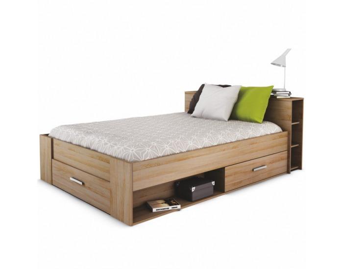 Manželská posteľ s úložným priestorom Roket 140 - dub sonoma