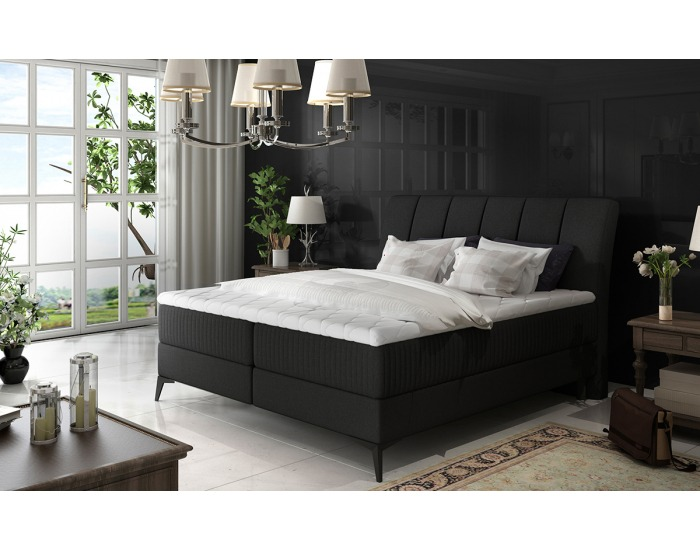 Čalúnená manželská posteľ s úložným priestorom Altama 140 - čierna (Sawana 14)