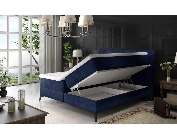 Čalúnená manželská posteľ s úložným priestorom Altama 160 - svetlosivá (Sawana 21)
