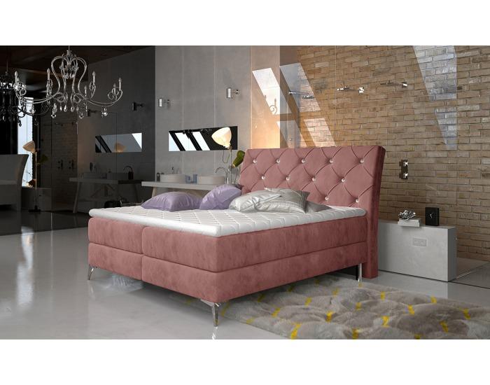 Čalúnená manželská posteľ s úložným priestorom Amika 140 - ružová (Kronos 29)