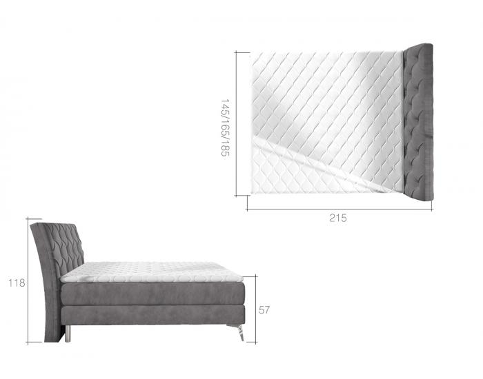 Čalúnená manželská posteľ s úložným priestorom Amika 180 - biela