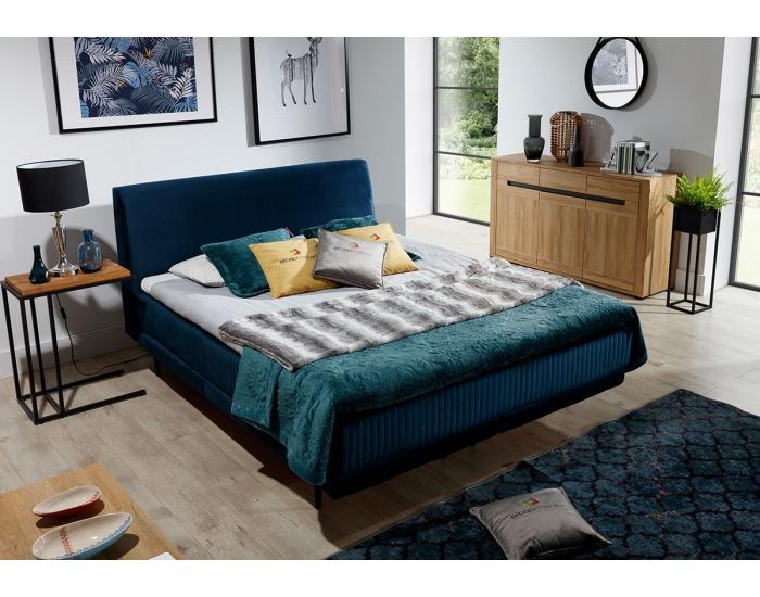Čalúnená manželská posteľ Ancona 160 - tmavomodrá