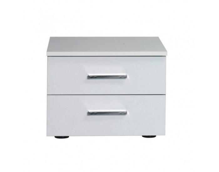 Nočný stolík (2 ks) Asiena - biela / biely vysoký lesk