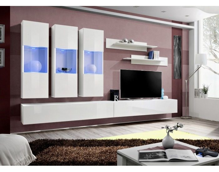 Obývacia stena s osvetlením Fly E2 WW - biela / biely vysoký lesk