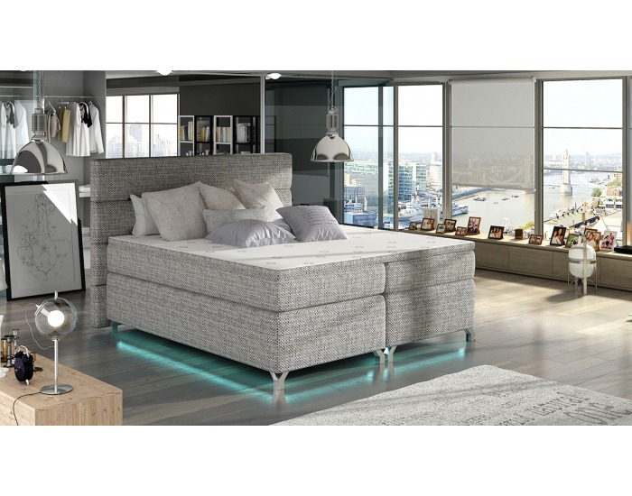 Čalúnená manželská posteľ s úložným priestorom Avellino 160 - sivá (Berlin 01)