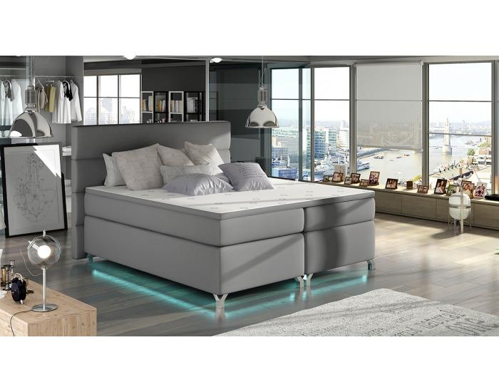 Čalúnená manželská posteľ s úložným priestorom Avellino 180 - sivá (Soft 29)