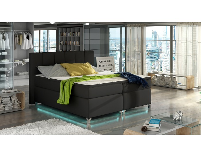 Čalúnená manželská posteľ s úložným priestorom Barino 140 - čierna (Soft 11)