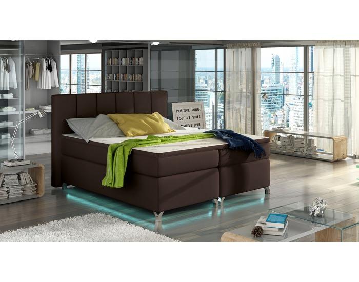 Čalúnená manželská posteľ s úložným priestorom Barino 180 - tmavohnedá (Soft 66)