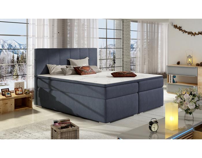 Čalúnená manželská posteľ s úložným priestorom Barmo 180 - modrá