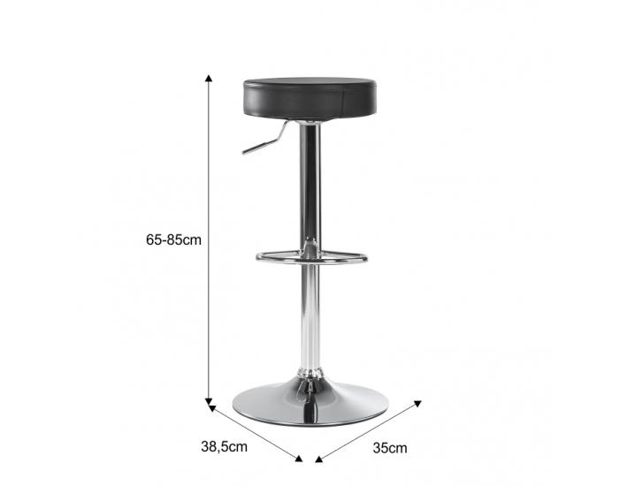Barová stolička Adalin - čierna / chróm