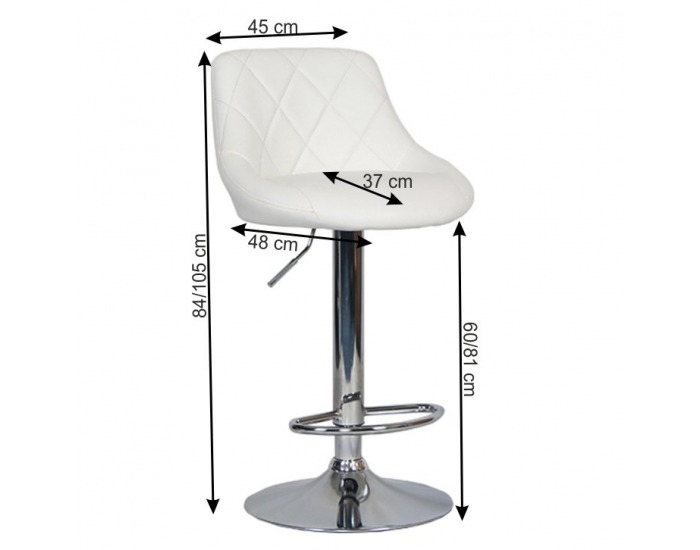 Barová stolička Marid - biela / chróm
