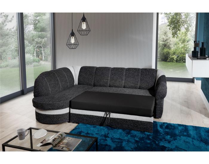 Rohová sedačka s rozkladom a úložným priestorom Belluno L - čierna / svetlosivá