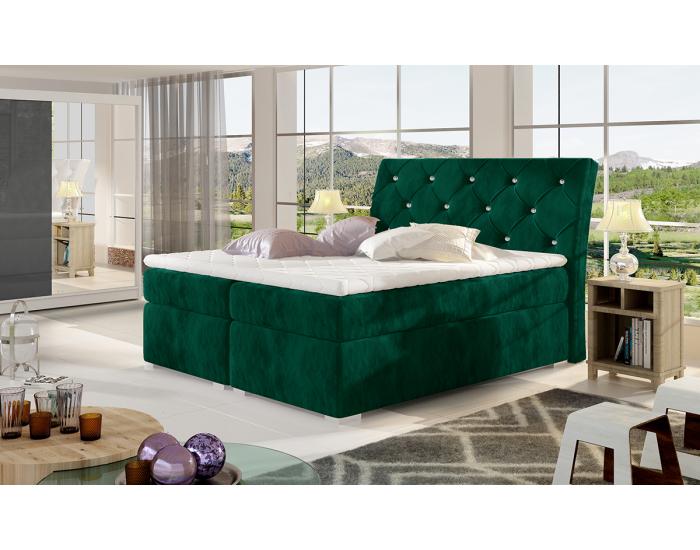 Čalúnená manželská posteľ s úložným priestorom Beneto 140 - tmavozelená