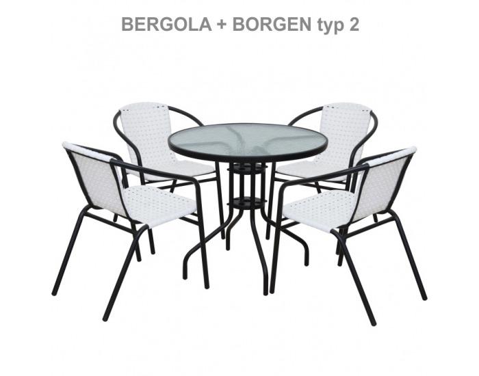 Záhradná stolička Bergola - biela / čierna