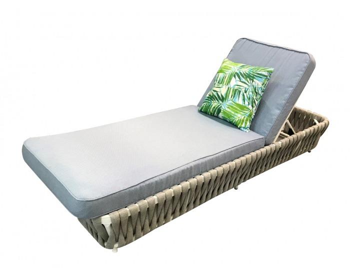 Záhradná posteľ z umelého ratanu Corda - svetlohnedá / svetlosivá