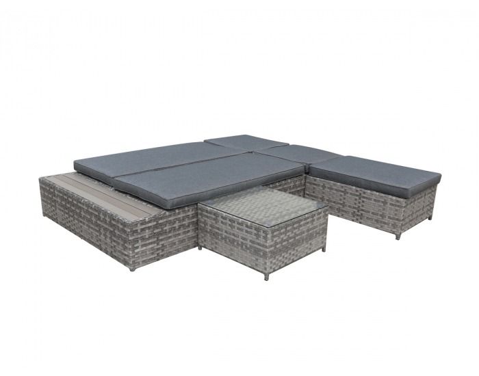 Záhradná posteľ so stolíkom Diabolico - sivý melanž / sivá