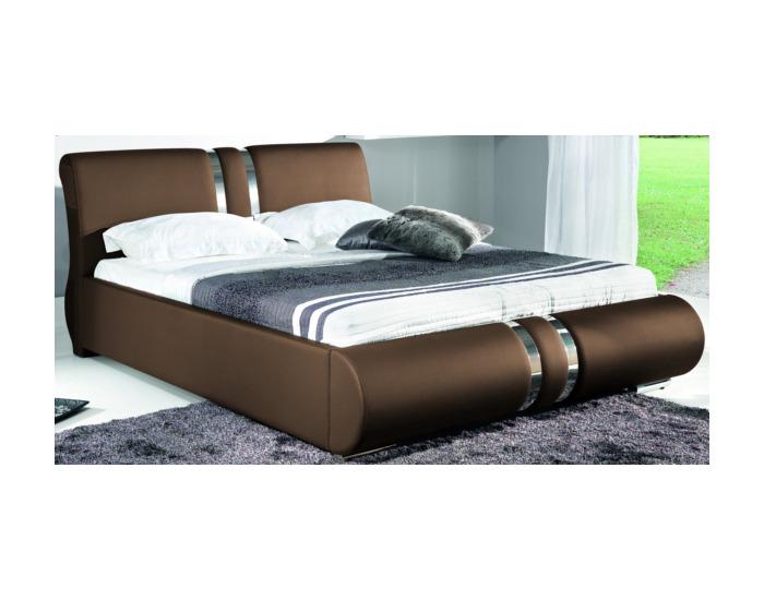 Čalúnená manželská posteľ Combi 160 - hnedá