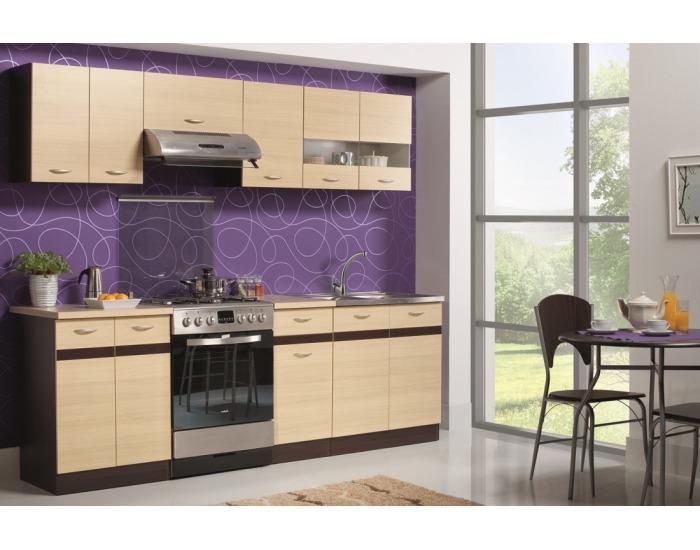 Kuchyňa Eliza 240 - dub wenge / rijeka svetlá / dub wenge