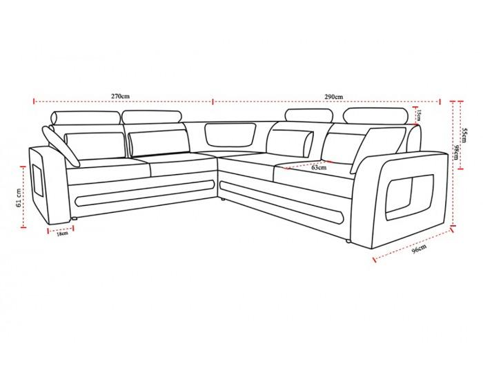 Rohová sedačka s rozkladom a úložným priestorom Bolzano P - sivá (Berlin 01) / biela (Soft 17)