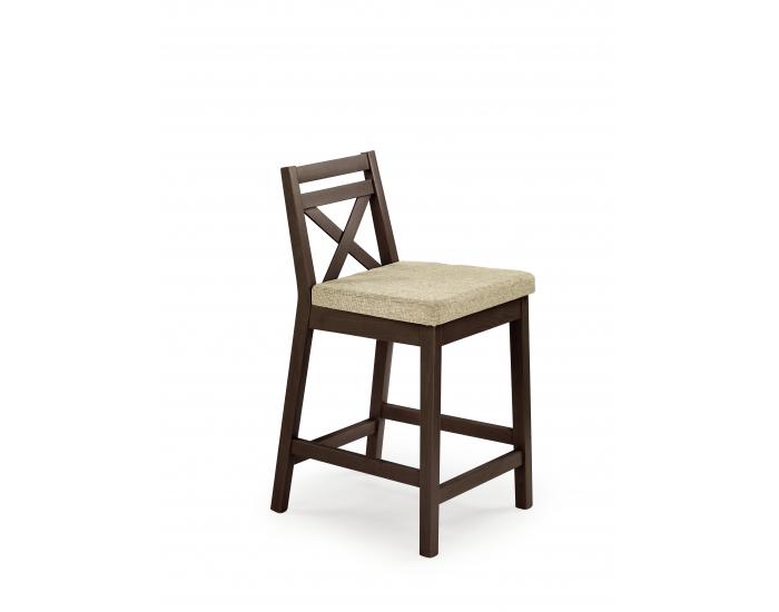 Barová stolička Borys Low - orech tmavý / béžová