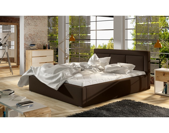 Čalúnená manželská posteľ s roštom Branco 180 - tmavohnedá (Soft 66)