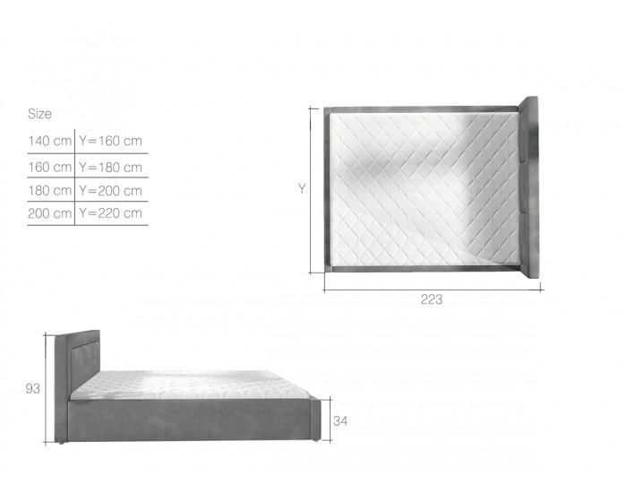 Čalúnená manželská posteľ s roštom Branco 140 - tmavozelená