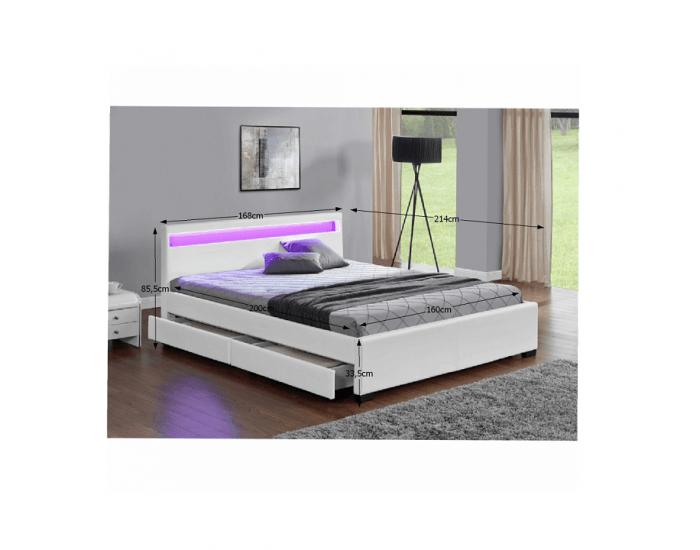 Čalúnená manželská posteľ s roštom a osvetlením Clareta 160 - biela