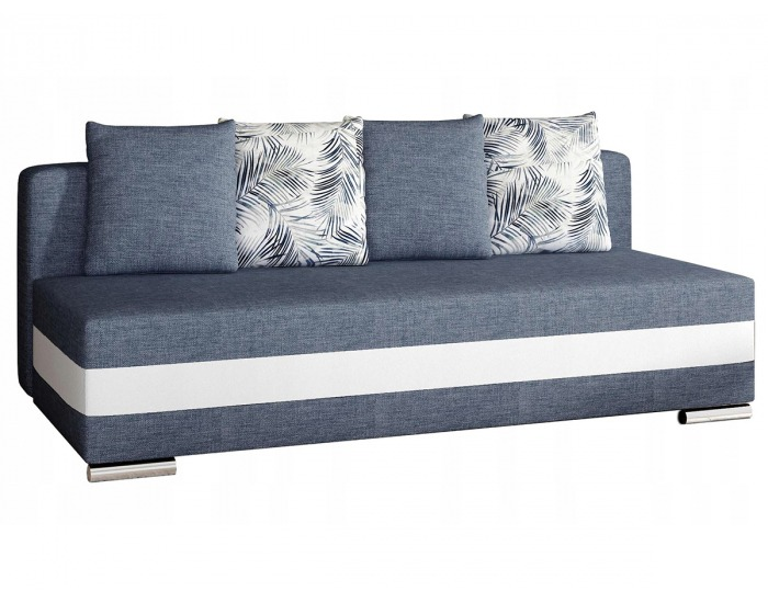 Rozkladacia pohovka s úložným priestorom Copparo - modrá / biela / vzor