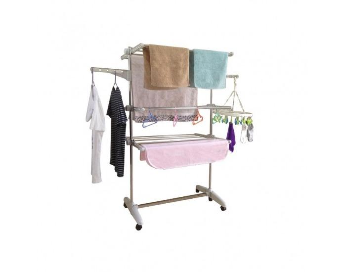 Sušiak na prádlo Denal - oceľ / svetlofialová