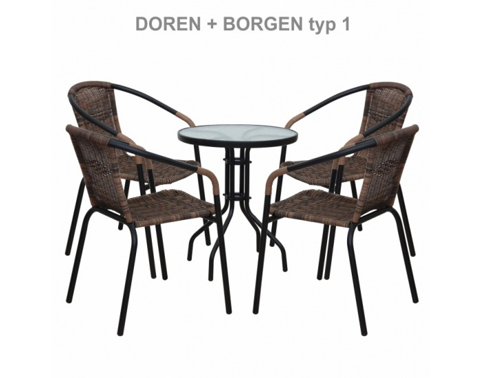Záhradná stolička Doren - hnedá / čierna