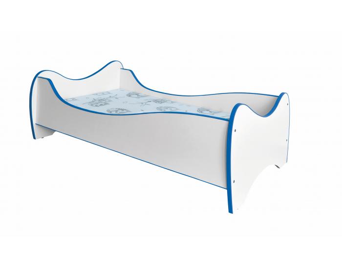 Detská posteľ s roštom a matracom Duo - biela / modrá