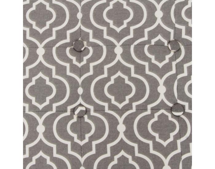 Taburetka s úložným priestorom Fargo - sivá / biely vzor