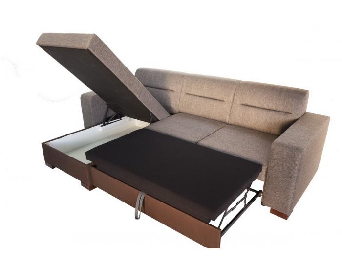 Rohová sedačka s rozkladom a úložným priestorom Enzo L/P - šenil hnedý (Corona 86) / hnedá (Neo 07)